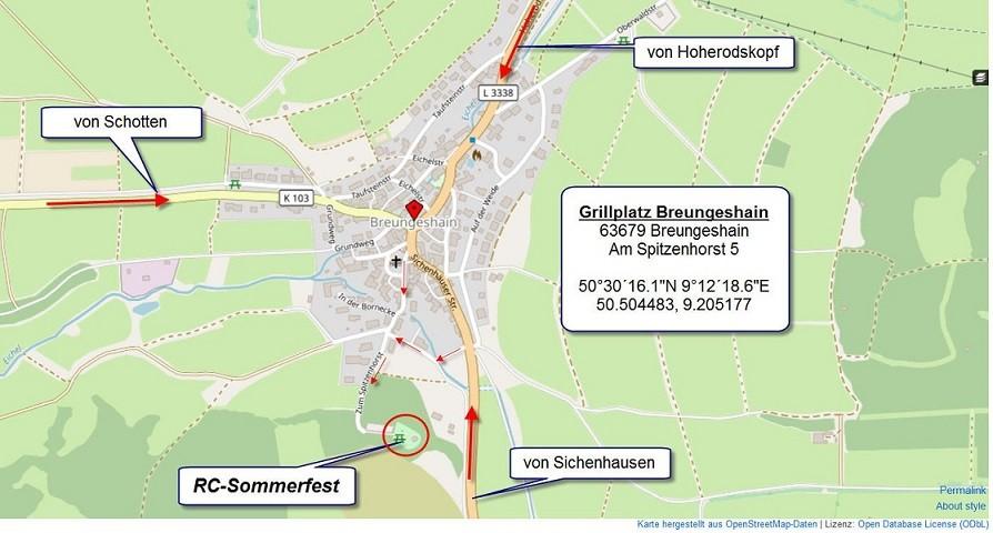 Lageplan und Anfahrt Sommerfest der Roadcrawler Hessen 2019 in Breungeshain