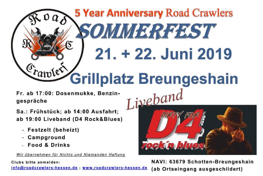 Aushang des Sommerfest der Roadcrawler Hessen 2019 in Breungeshain
